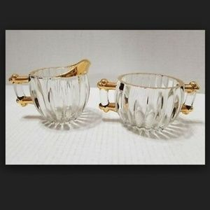 Vintage Sugar And Creamer Set Gold Trim
